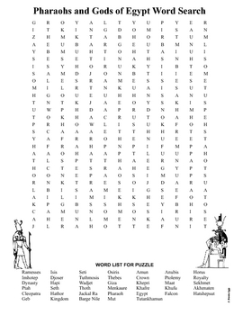 Egypt Pharaohs and Gods Word Search