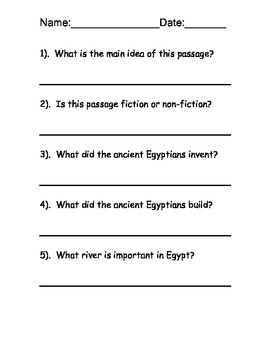 Egypt Reading Comprehension