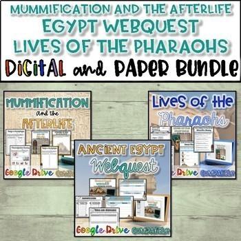 Egypt Bundle-Lives of Pharaohs, Egypt WebQuest and Egypt P
