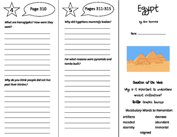 Egypt Trifold - Reading Street 6th Grade Unit 2 Week 5