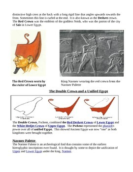 Egypt Unification information text Narmer Palette red white and double crown