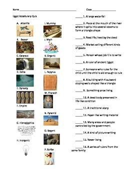 Egypt Unit Vocabulary Test