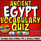 Egypt Vocabulary Editable Quiz in Google Forms Definitions