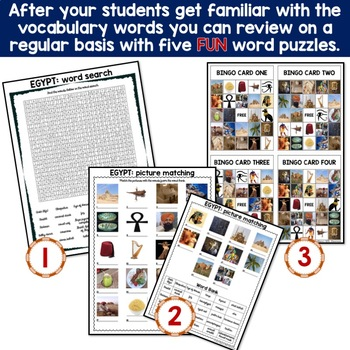 Egypt - Country Symbols: 5 Different Word puzzles and 30 Photo Flash Cards