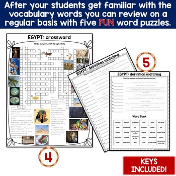 Egypt 5 Word Puzzles and 30 Photo Flash Cards BUNDLE