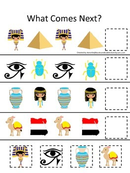 Egypt What Comes Next preschool math game.  Printable daycare curriculum.