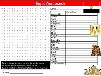 Egypt Wordsearch & Anagrams Puzzle Sheet Keywords Country Geography