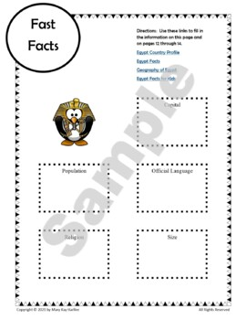 Egypt:  Worksheets, Maps, and Journaling Pages