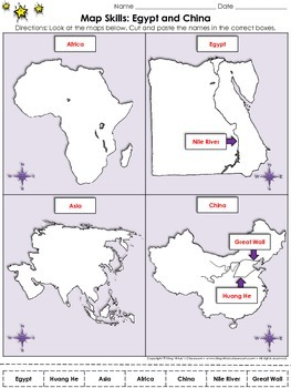 Egypt and China: Map Skills Cut and Paste Activity - Huang He Nile Asia Egypt