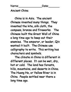 Egypt and China Reading Comprehension