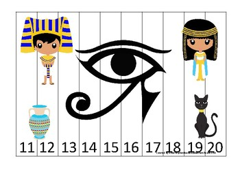Egypt themed 11-20 Number Sequence Puzzle Game. Printable Preschool