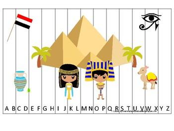 Egypt themed Alphabet Sequence Puzzle Game. Printable Preschool Gam