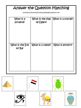 Egypt themed Answer the Question Game.  Printable Preschool Game