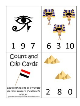 Egypt themed Count and Clip preschool math cards.  Daycare