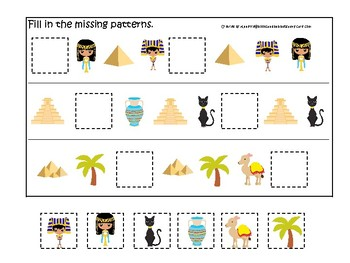 Egypt themed Fill In the Missing Pattern Game. Printable Preschool Game