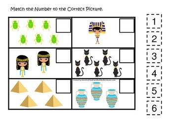 Egypt themed Match the Number preschool learning game.  Daycare curriculum.