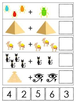 Egypt themed Math Addition Game. Printable Preschool Game