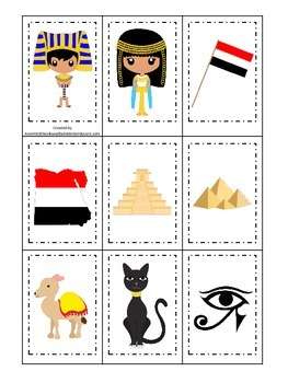 Egypt themed Memory Matching preschool learning game.  Daycare.