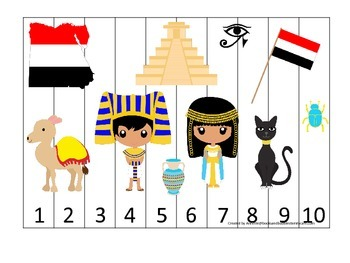 Egypt themed Number Sequence Puzzle preschool learning game. Daycare.