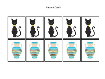 Egypt themed Pattern Cards and Game Board. Printable Preschool Game