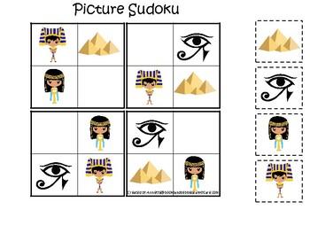Egypt themed Picture Sudoku Game. Printable Preschool Game