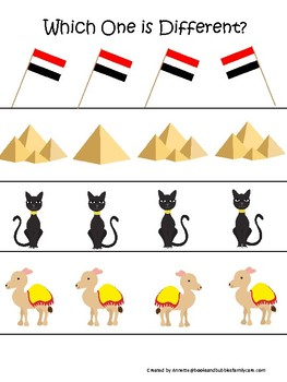 Egypt themed Which One is Different. Printable Preschool Game.