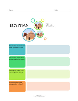 Egyptian Culture:  A Fillable Fact-Finding Sheet