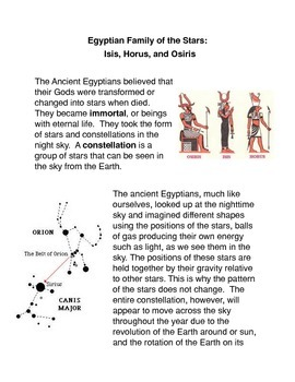 Egyptian Family of the Stars: Isis, Horus, and Osiris Common Core