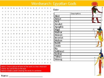 Egyptian Gods Wordsearch Puzzle Sheet Keywords Ancient History Religion
