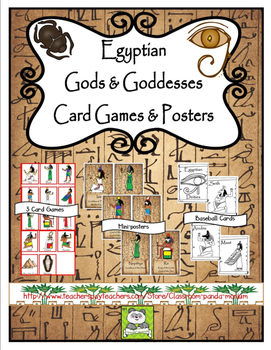 Egyptian Gods and Goddesses Card Games and Mini-posters