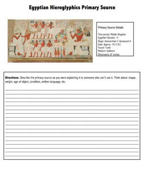 Egyptian Hieroglyphics Artifact Primary Source Packet