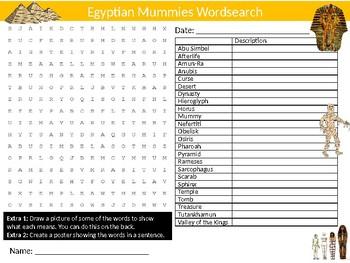 Egyptian Mummies Wordsearch Sheet Starter Activity Keywords Egypt History