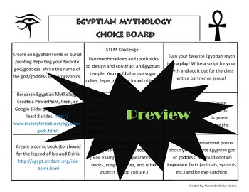 Egyptian Mythology Unit Choice Board Menu Rubric ELA STEM Common Core