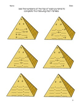 Egyptian Pyramid math fact families