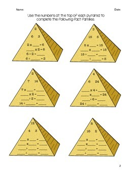 Egyptian Pyramid math fact families