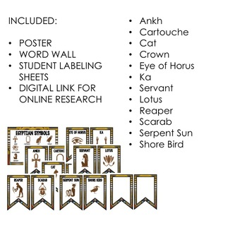 Egyptian Symbols, Posters, Word Wall, Activity Pages Google Link