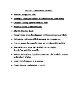 Egyptian Vocabulary Word List