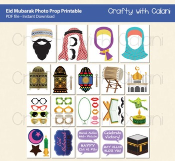 Eid Mubarak Photo Booth Prop, Islamic Themed Photo Booth Prop Printable
