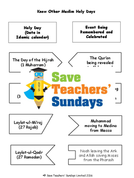 Eid-ul-Fitr and Other Holy Days Lesson plan and Worksheets