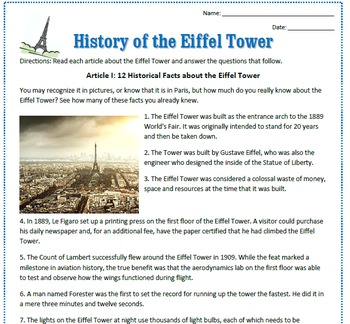 Eiffel Tower: Reading Activities & Substitute Plan for French Class