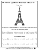 Eiffel Tower - Name Tracing & Coloring Editable Sheet - #6