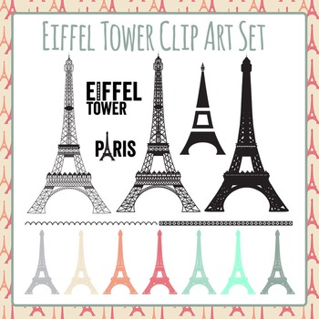 Eiffel Tower, Paris, France Clip Art Set for Commercial Use