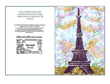 image regarding Printable Eiffel Tower identified as Eiffel Tower Pointillism Landscape Artwork Printable 5x7 folded, blank inside of