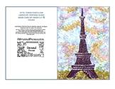 Eiffel Tower Pointillism Landscape Art Printable 5x7 folde