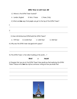 Eiffel Tower Worksheet Quiz French World History Language Special Education