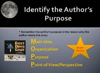 Eight Days Gone lesson with leveled questions and author's purpose