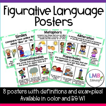 Eight Figurative Language Posters! *Similes, Metaphors, Alliteration,* and more!