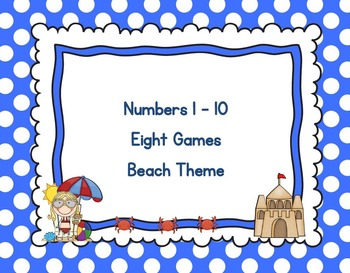 Eight Games for Counting and Cardinality 1 - 10 Beach Theme