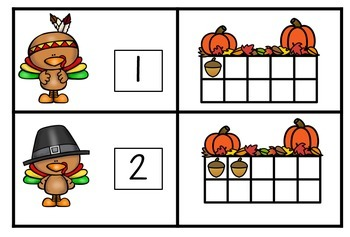 Eight Turkey Themed Games for Counting and Cardinality as well as Number Sense