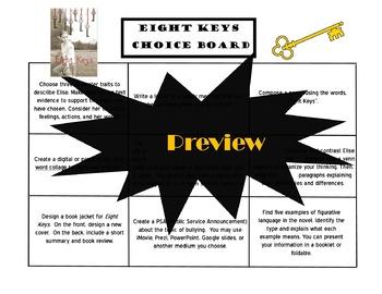 Eight Keys Choice Board Novel Study Activities Book Project Tic Tac Toe